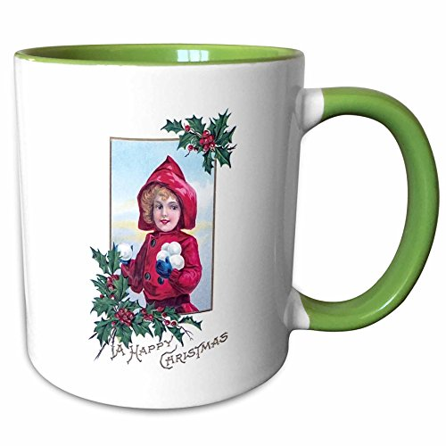 3dRose BLN Vintage Christmas Card Designs - Vintage A Happy Christmas Card with Little Girl in Red Holding Snowballs - 11oz Two-Tone Green Mug (2 Tone Red Coffee Mug)