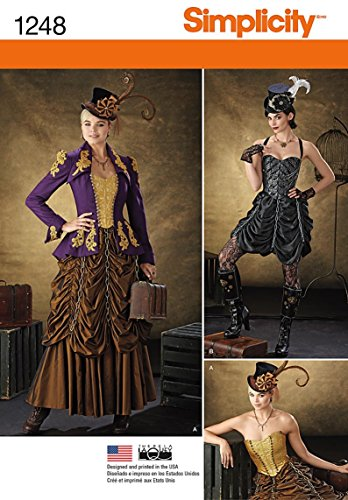R5 Halloween Costumes (Simplicity Creative Patterns 1248 Misses' Steampunk Costumes, Size: R5 14-16-18-20-22)