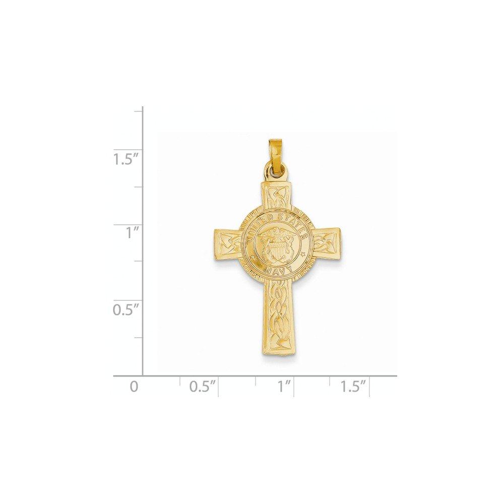 Solid 14k Cross w//Navy Insignia Pendant 37x21 mm