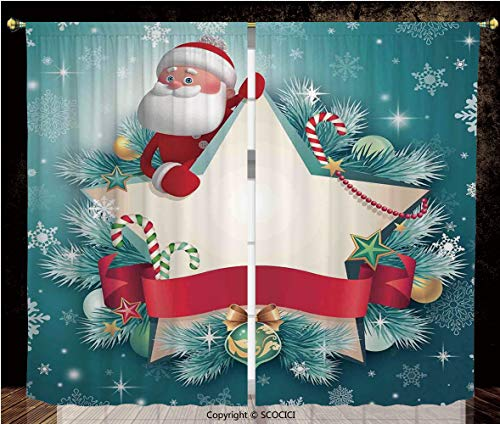 Thermal Insulated Blackout Window Curtains/Rod Pocket Window Drapes Panel/for Bedroom Living Room Dorm Kitchen Cafe/2 Curtain Panels/108 x 72 Inch/Christmas Decorations,Santa Star Banner Snowflakes Ri (Ri Star Pocket)