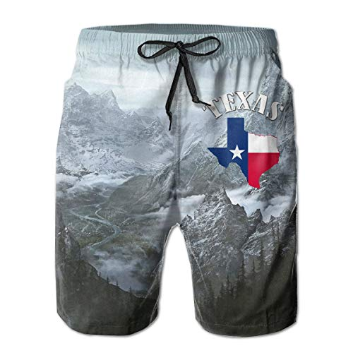 ASDGEGASFAS Mens Texas The Lone Star State Quick Dry Swim Trunks Bathing Suits with Mesh Lining Swimwear