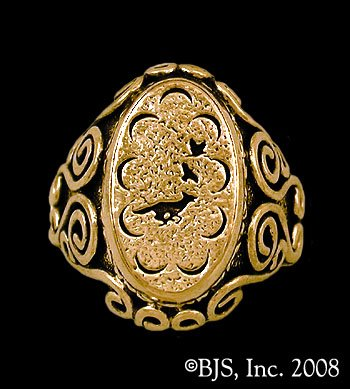 14k. Gold Small Mat Cauthon's ™ Signet Ring Officially Licensed Robert Jordan Wheel of Time ® Jewelry by Raven Blackwood