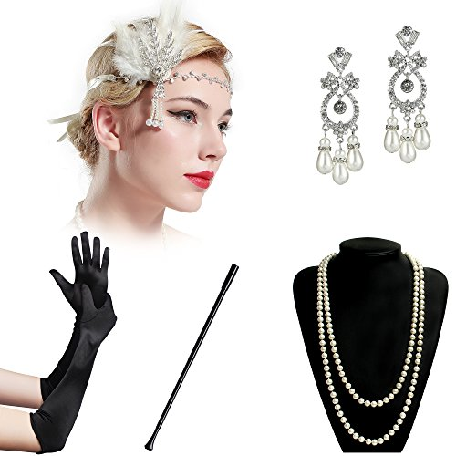BABEYOND 1920s Accessories Flapper Costume 5 in 1 1920s Costume Set for Great Gatsby Party (Set-4)
