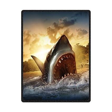 3c2ea0b31e Amazon.com  Custom Great White Shark Super Soft Fleece Blanket 58