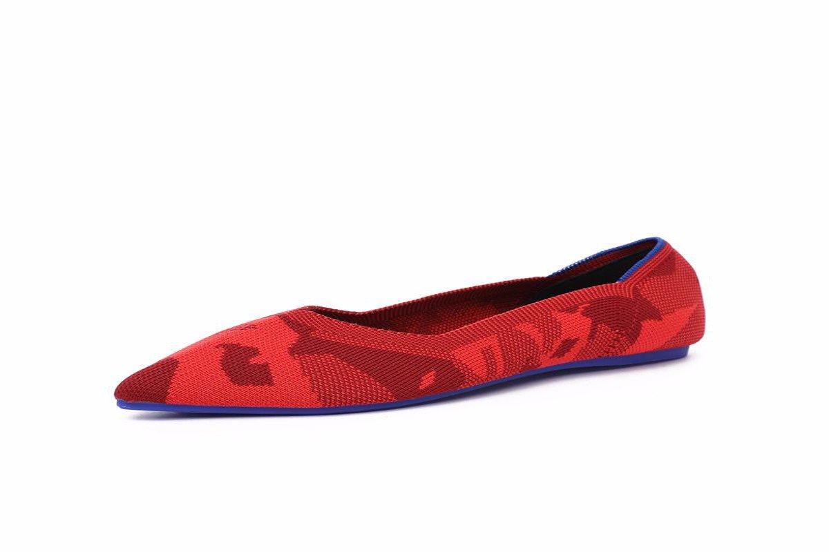 KPHY Damenschuhe in Frühjahr und Herbst Weben Stoff Rote Flach Wies Spitze Weiche Flache Sohle Schuhe Schuhe.