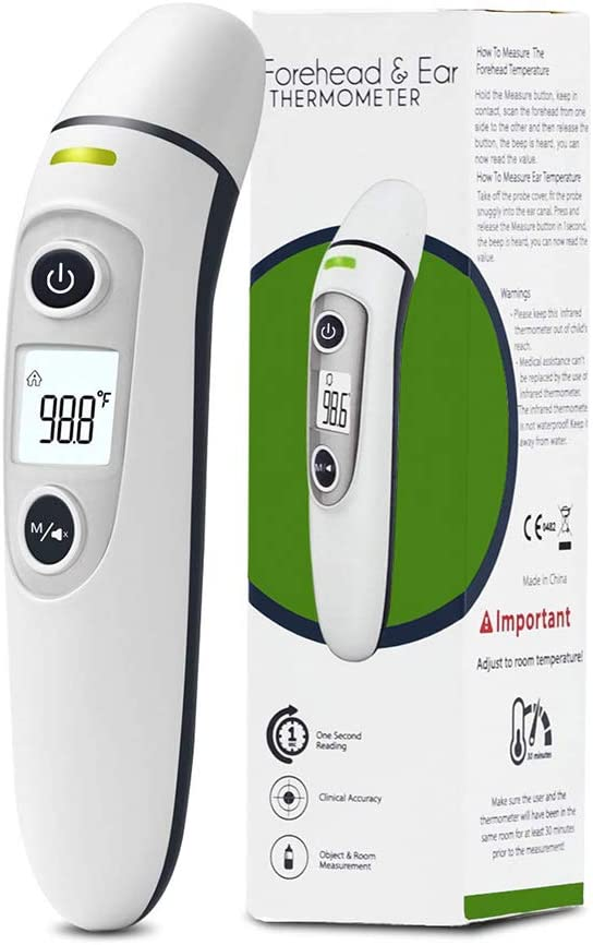 Non-Contact Thermometer OurWarm Forehead and Ear Thermometer Instant Reading Digital Infrared Thermometer for Kids Baby Adults FDA CE ISO approved