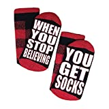 Funny Saying Socks WHEN YOU STOP BELIEVING Women Mens Novelty Cotton Crew Sock