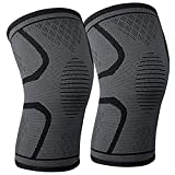 Knee Brace Support Compression Sleeves, 1 Pair Wraps Pads for Arthritis, ACL, Running, Pain Relief, Injury Recovery, Basketball and More Sports
