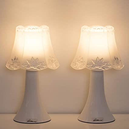 HAITRAL Small Nightstand Lamps - Modern Table Lamp Set of 2 with Acrylic  Body, Mini Night Lights for Kids Room, Bedroom, College Dorm, Nursery,  Ideal ...