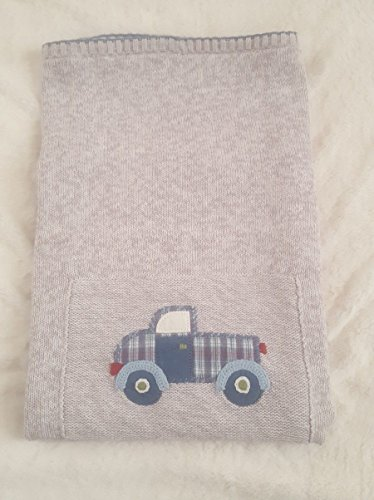 NWT Gymboree Gray Knit Truck Design Nursery Blanket Baby (Very Rare-Retired)