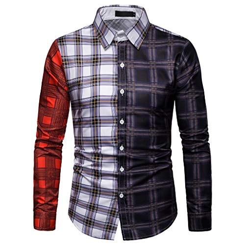 (NUWFOR Men's Business Casual Plaid Patchwork Long Sleeved Single Breasted Shirts Tops?Multicolor,US:L Chest?3.2)