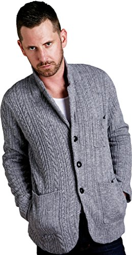 REVOLUTION NOW Men's Knitted Notch Collar Cable Wool Jacket Sweater Lt Grey