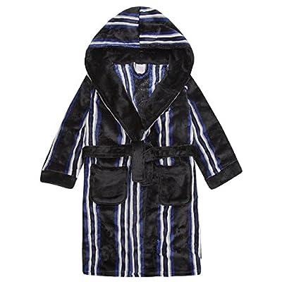 4Kidz Childrens Boys Striped Dressing Gown - Flannel Fleece Hooded Night Robe