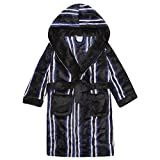 4Kidz Childrens Boys Striped Dressing Gown - Flannel Fleece Hooded Night Robe Black 9-10
