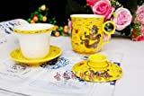 ufengke®Yellow Balck Dragon Bone China Ceramic Porcealin Chinese Tea Cup With Lid And Saucer