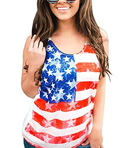 (4th of July Women's American Flag Camo Tank Tops Sleeveless Stripes Patriotic T Shirts (1-Red, L))