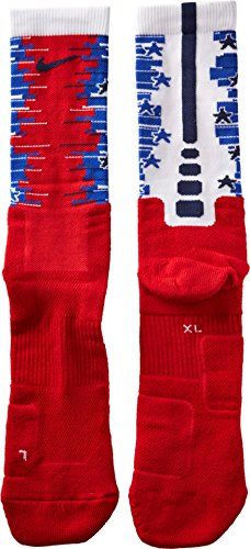 Nike Team Usa Basketball - {SX7273-657} UNISEX NIKE ELITE CREW-1.5 4TH OF JULY RED/WHITE/MIDNIGHT NAVY (MEDIUM)