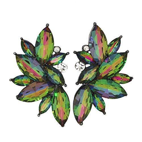 Xdaccgo Luxury Leaves Shape Glass Cluster Crystal Teardrop Flower Design Studs Earrings (vitrail medium)