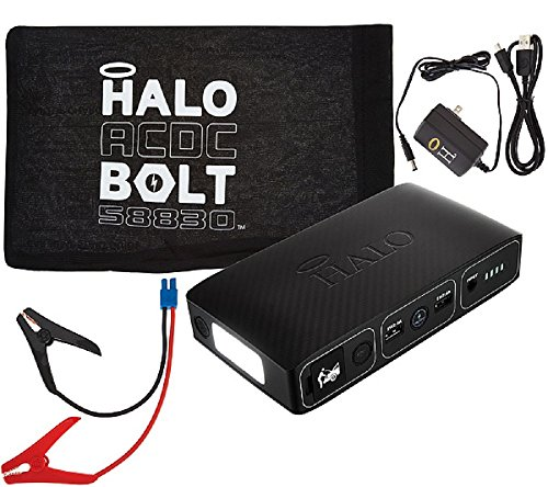 Halo Portable Charger & Car Jump Starter w/ LED Floodlight Black Graphite by BO15