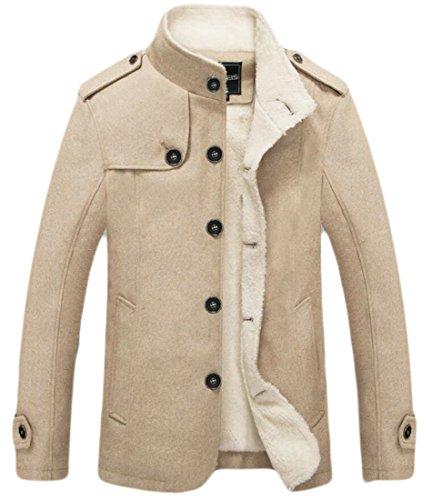 amp;W Jacket Cotton Parka Thick amp;S Lining Men's Fleece M Outdoor Khaki Coat OF5q15w