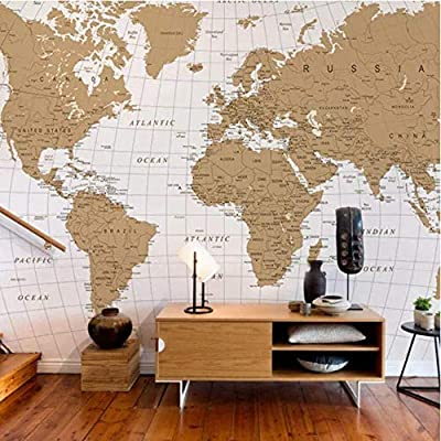 Vintage World Map Wall Stickers 3D Mural Wallpaper para sala de ...