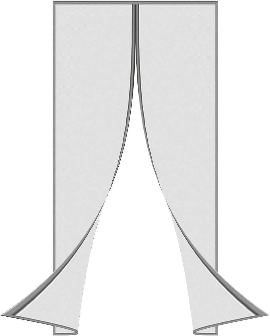 wei/ß SODKK Vorhang aus Fiberglas Magnetisches Fliegengitter mit Klettverschluss geeignet f/ür T/üren komplett magnetisch
