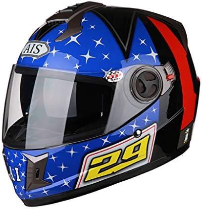NJ ヘルメット- オートバイヘルメットメンズフォーシーズンユニバーサル透明防曇ミラーヘルメット (色 : 青, サイズ さいず : XXL)