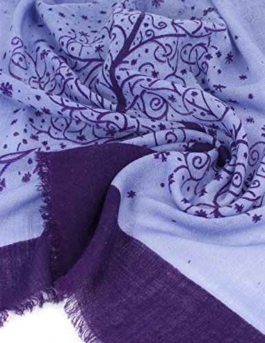 Dahlia Women's 100% Merino Wool Pashmina Scarf - Wishing Tree - Purple