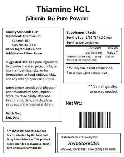 NuSci 100% pure Thiamine HCL Vitamin B1 Powder Energy (1000 grams (2.2 lb))