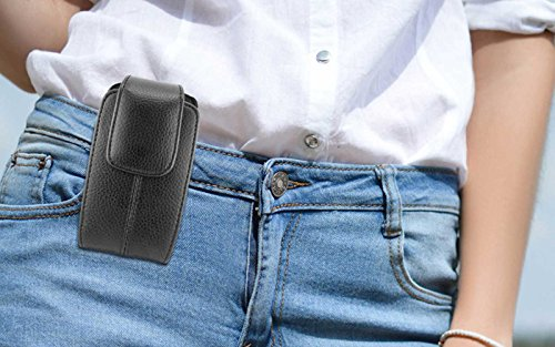 Vertical Belt Clip Loops Cell Phone Pouch Case Fits LG G6 Plus G6 Q8 V20 K10 K20 V Plus X Venture X Power Harmony Stylo 2 V Plus 3 Plus 3 ZTE Blade V8 Pro HTC U11 U Play Bolt Desire 10 Pro Lifestyle