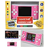QINGSHE Kids Retro Handheld Game Controller 8 Bit 2.5'' LCD Portable Video Games Player with Built in 152 Classic Old School Games,Arcade Gaming System,Best Birthday Gift for Children-Pink