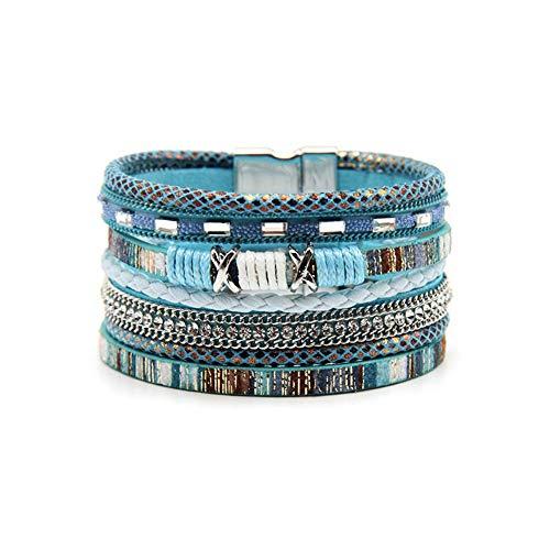 Green Mexican Bracelet - MineSign Mens Bracelet Rope 7.5 Inch Cross Bracelet Layer Chain Braided Jewelry (Blue)