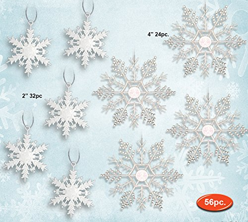 White Snowflakes - Set of 56 Glittery White Snowflake Ornaments - 32 Mini Snowflakes and 24 Clear iridescent Snowflakes - Snowflake Decorations