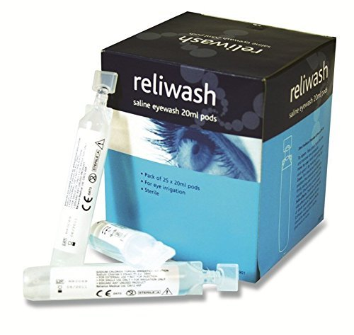 (Reliance Medical 901 Sterile Saline Eyewash 20 mL Ampoules, Plastic (Pack of 25) )