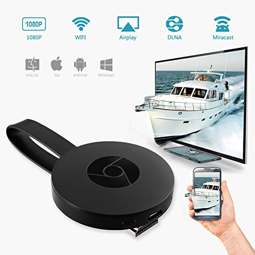 Digital HDMI Media Video Streamer 2nd Generation, WiFi Display Dongle, Wireless 1080P Mini Projection Receiver, Cell Phones Tablet PC Applicable