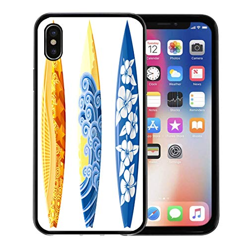 Hibiscus Blue Surfboard - Emvency Phone Case for Apple iPhone Xs case,Blue Surf Surfboards White Yellow Board Hibiscus Sea Surfer Beach for iPhone X Case,Rubber Border Protective Case,Black