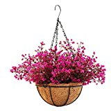 Mynse Lifelike Artificial Plant Indoor Fake Plant Outdoor Decoration Patio Lawn Garden Hanging Basket with Chain Flowerpot (Purple with Red) Review