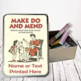 Personalised Make Do & Mend Retro Vintage Sw03Sewing Tin Kit ~ Needles/buttons/Cotton ~ Storage Box Gift by Krafty Gifts
