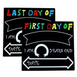 SSZY 2 Pack First and Last Day of School Chalkboard Signs with Back Whiteboard for Children Back to School, Photo Sharing Kindergarten Plaque Photo Prop, 11.8 X 11 inches Handle Size (Handle Size)