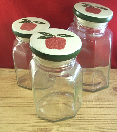 - Apple Jack Fruit Kitchen Storage Cookie Canister Jar Glass 3 Pieces M