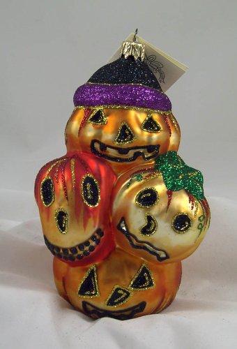 Larry Fraga Pumpkin Patch Halloween Jack O Lantern glass Ornament
