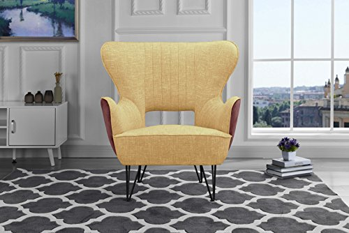 Mid-Century Modern Two-Tone Linen Fabric Accent Armchair with Shelter Style Living Room Chair (Yellow/Brown)