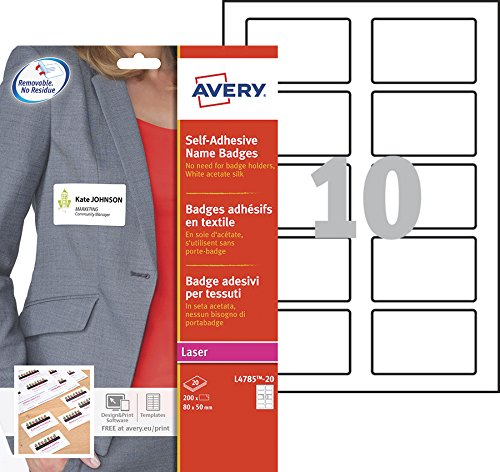 Avery Self-Adhesive Repositionable Name Badge Labels, 10 Labels Per A4 Sheet - Blue Border (L4785)