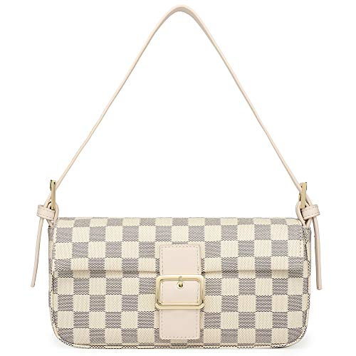 - Miracle Women's Vintage Shoulder Bag | Purse with Credit Card Slots | Cross Body Clutch (cream checkered)