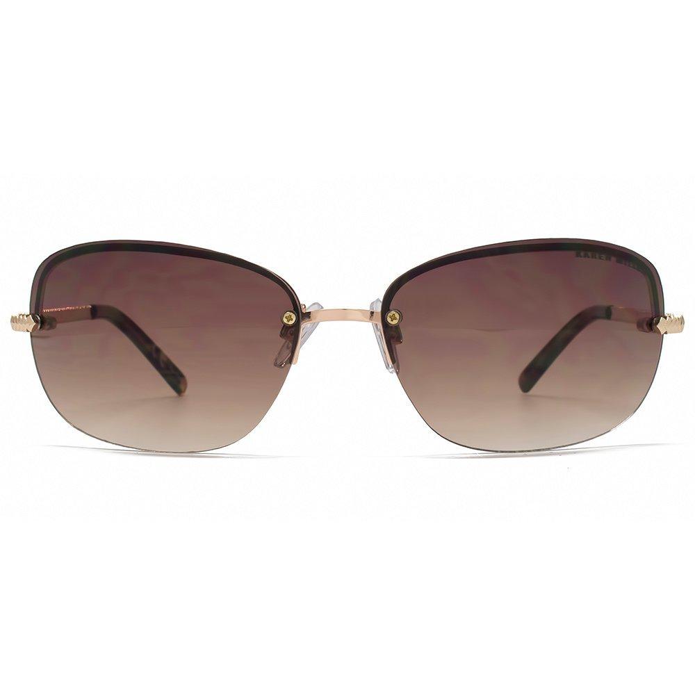 f03738b29f1 Karen Millen Chevron Temple Rimless Sunglasses in Gold KML189   Amazon.co.uk  Clothing