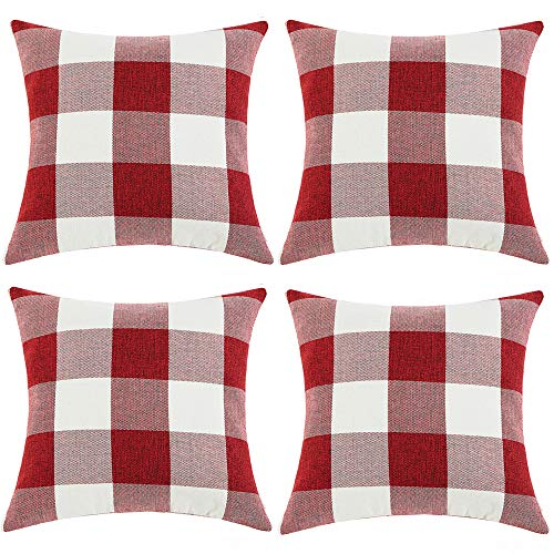 (Anickal Set of 4 Red and White Buffalo Check Plaid Throw Pillow Covers Farmhouse Decorative Square Pillow Covers 20x20 Inches for Farmhouse Home Decor )