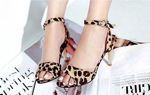 black Grande Leopard Bombas Wild Peep Ankle 31 Romano Nuevo Toe Ladies Verano Strap 47 Sandalias Tamaño TwI1Z7