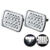 2PCS 45W 7x6 5x7 inch Led Headlights with High Low Sealed Beam Daytime Driving Lights 6054 H6054 Replacement fit for Jeep Wrangler YJ Cherokee XJ Cherokee