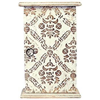 SAAGA Wooden Key Holder with Key Hooks Wall Hanging with Moroccan Design Carving/Handmade : 11x7x3 inches (LxBxH)