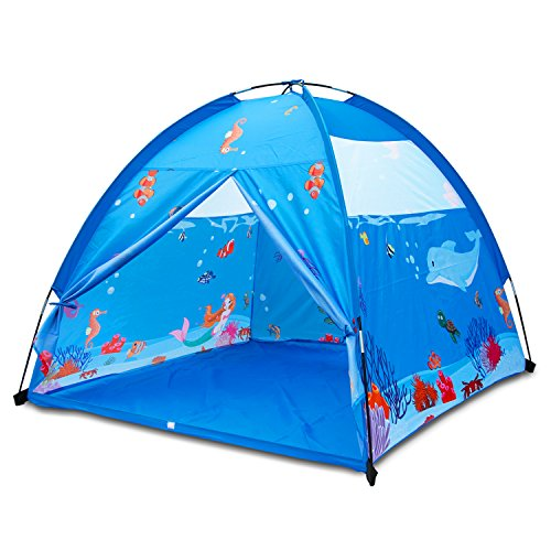 Homfu Play Tent for Kids 150x150CM Dome Style Playhouse for Children Indoor Outdoor Toy Ocean Sea World Pattern Boys and Girls Beach Tent (Blue)